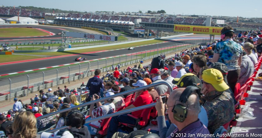 Crowds of fans watching F1 at Circuit of the Americas in 2012