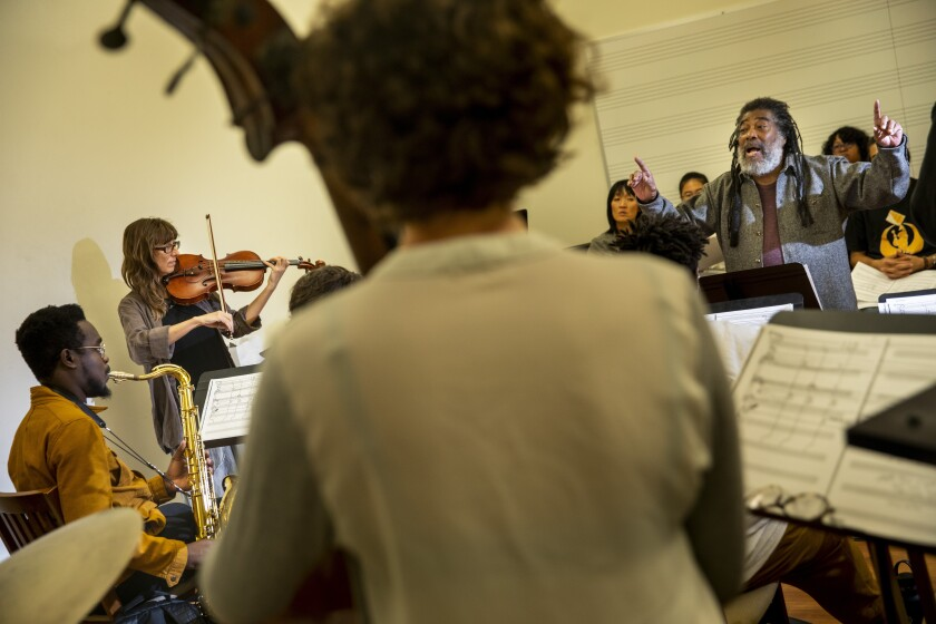 Wadada Leo Smith, recipient of the UCLA Medal, leads a workshop Tuesday with university music students.