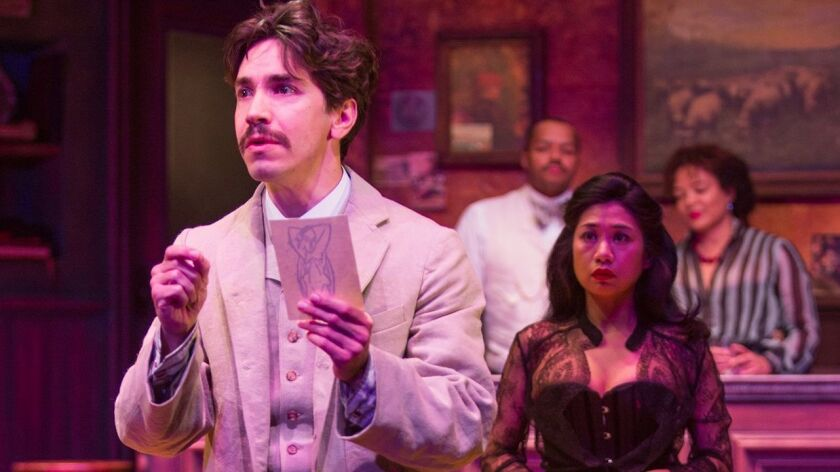 "Justin Long, with (from left) Donald Faison, Liza Lapira and Luna Veléz, in the Old Globe Theatre's ""Picasso at the Lapin Agile."""