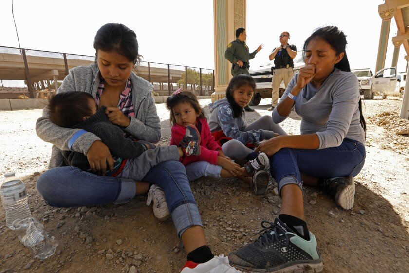 EL PASO, TEXAS--JUNE 21, 2019--Women and children who have just crossed the U.S.- Mexico border ille