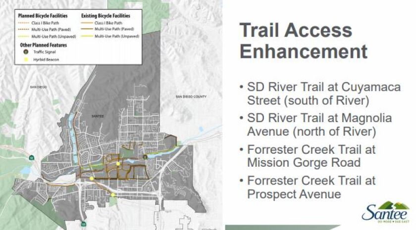 """Santee is planning trail enhancements for walkers and cyclists through its """"Active Santee"""" plan."""