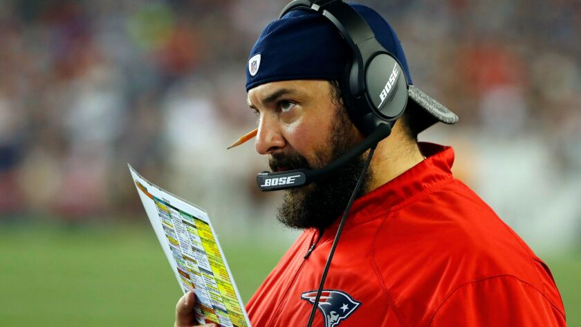Patriots defensive coordinator Matt Patricia is believed to be interviewing with the Chargers.