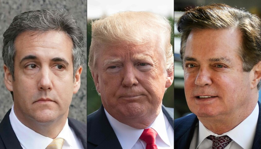 Michael Cohen, former personal lawyer for President Trump, left; President Trump, center; and former Trump campaign chairman Paul Manafort.