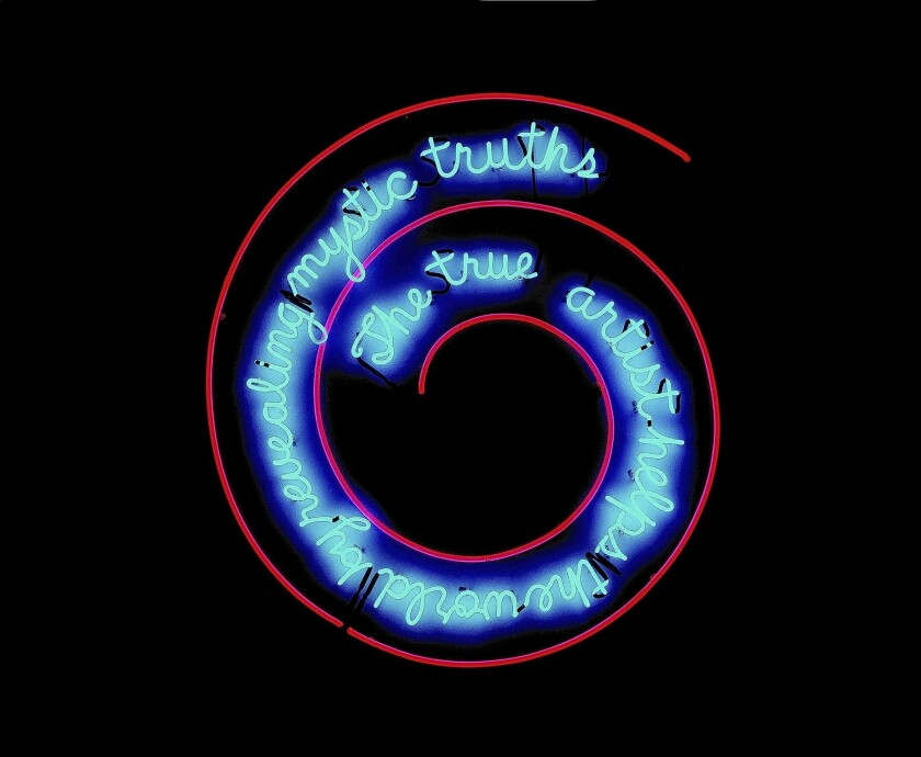 """Bruce Nauman, """"The True Artist Helps the World by Revealing Mystic Truths (Window or Wall Sign)"""", 1967. Neon tubing with clear glass tubing suspension frame. 59x55x2 inches. Artist's proof."""