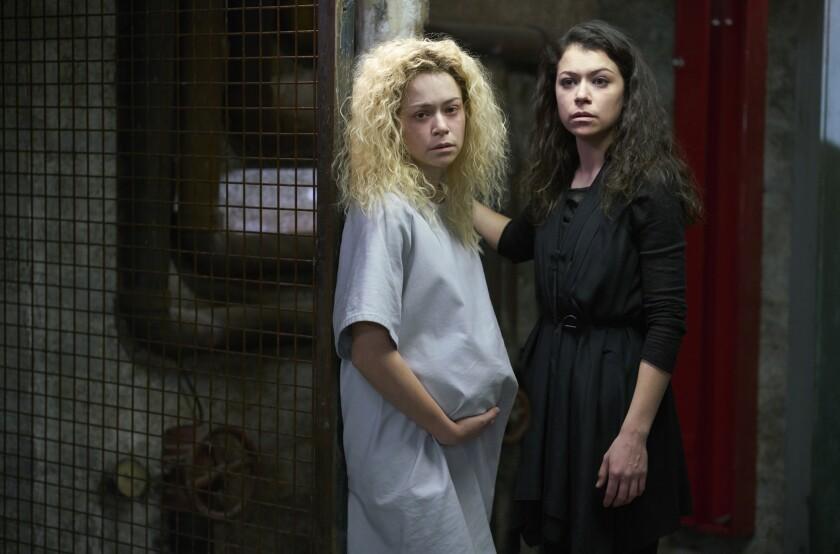 """Helena, left, and Sarah (Tatiana Maslany) in """"Orphan Black."""""""
