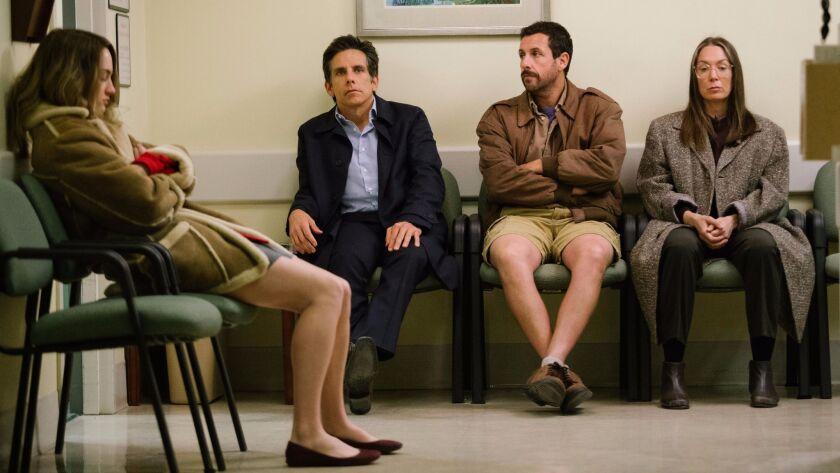 """From left: Grace Van Patten, Ben Stiller, Adam Sandler and Elizabeth Marvel in """"The Meyerowitz Stories."""""""