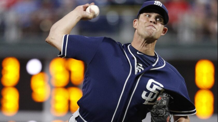San Diego Padres relief pitcher Robert Stock throws a pitch during the eighth inning of a baseball game against the Philadelphia Phillies, Friday, July 20, 2018, in Philadelphia. The Phillies won 11-5.