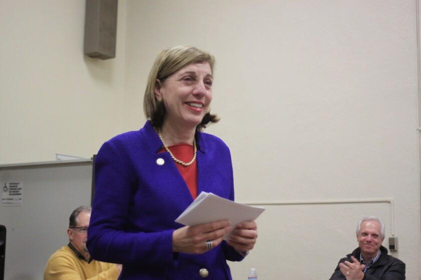 Barbara Bry addresses the La Jolla Community Planning Association, Jan. 5.