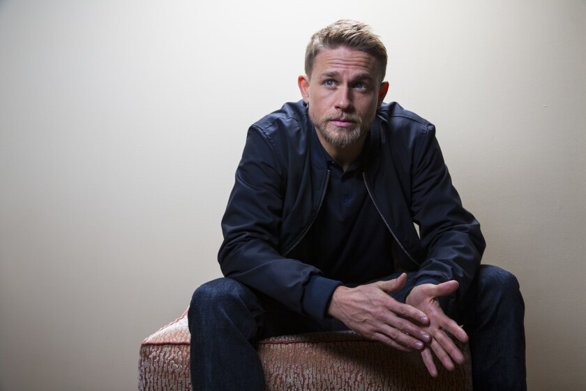 "Actor Charlie Hunnam at the Four Seasons Hotel to promote the movie ""Lost City of Z."""