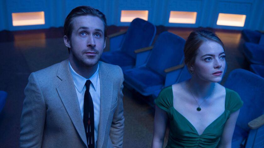 "Ryan Gosling and Emma Stone in a scene from ""La La Land."""