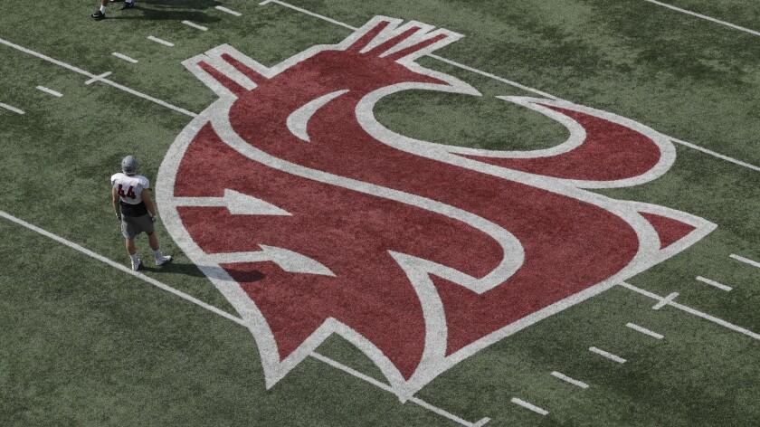Washington State logo on field.