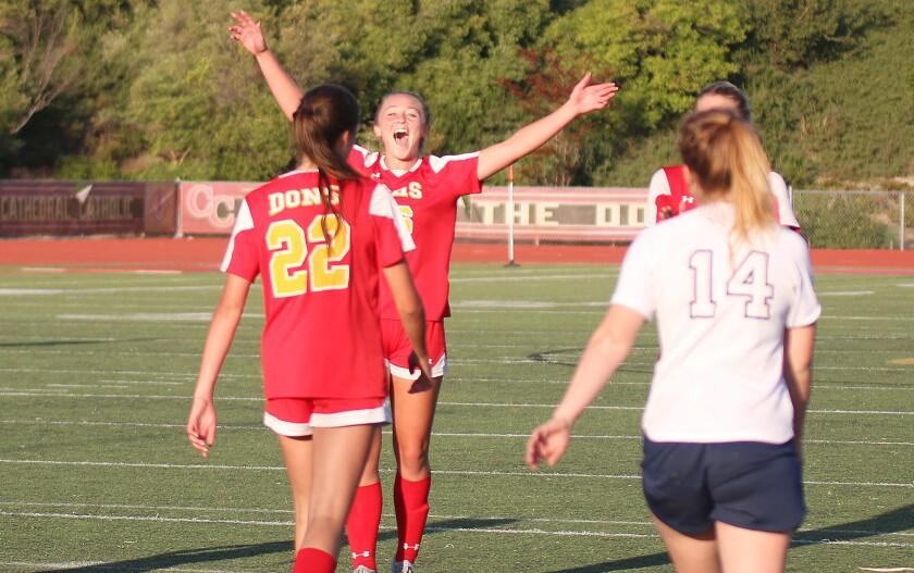 Junior Brooke Miller (16) enjoying the moment after Sophia Aragon's (22) goal.