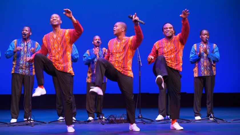 Ladysmith Black Mambazo in performance at UCLA's Royce Hall.