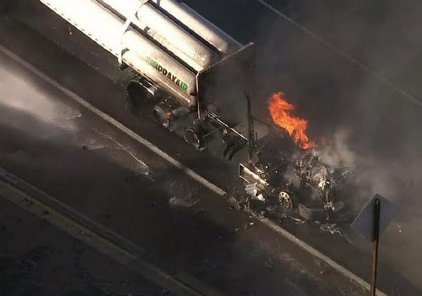 60 Freeway's westbound lanes reopen after big-rig fire