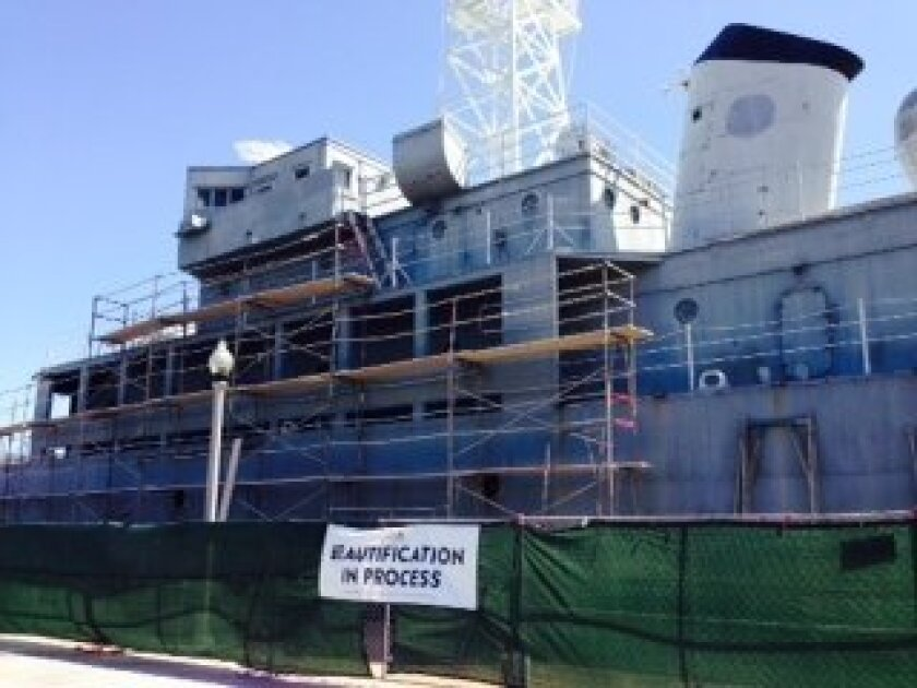 Sometimes referred to as USS Neversail, the mock USS Recruit ship at Liberty Station is getting a much needed facelift.