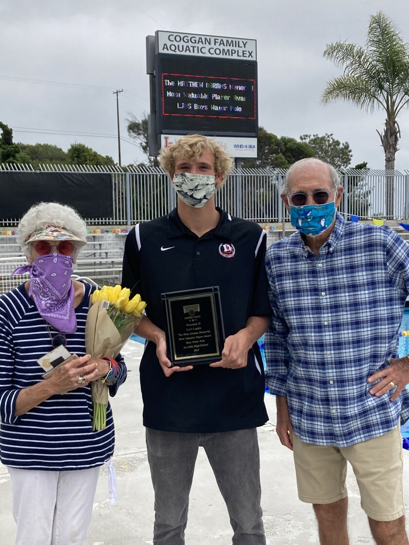 Joyce and Dave Abrams with La Jolla High water polo goalie Levi Lentin, recipient of the Matthew Abrams Memorial Award.