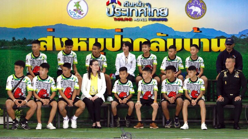 Press conference of 13 members of child soccer team after rescued from Tham Luang cave, Chiang Rai, Thailand - 18 Jul 2018