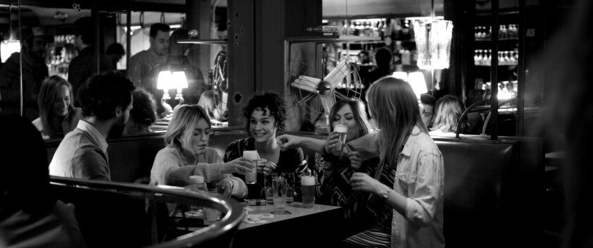 "Evelien Bosmans, second from left, and Daphne Wellens, third from left, in the movie ""Charlie and Hannah's Grand Night Out."""