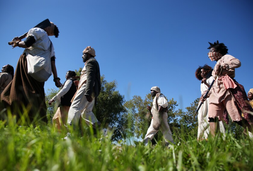 Historians disagree about the details of the 1811 slave rebellion that was reenacted.