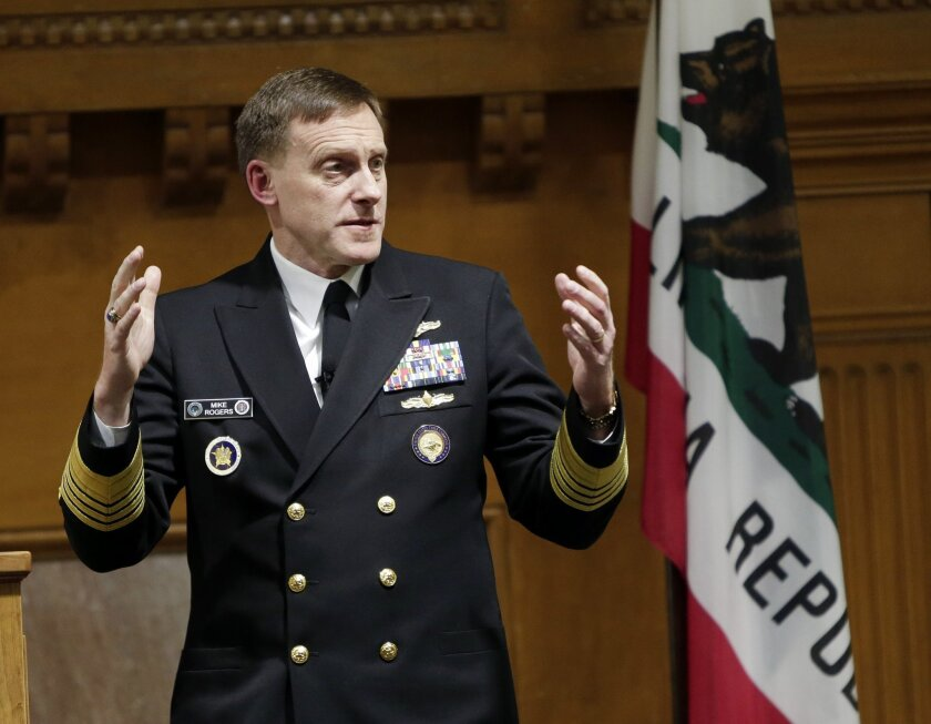 National Security Agency director Mike Rogers speaks at Stanford University, Monday, Nov. 3, 2014, in Stanford, Calif. Rogers told professors and students that U.S. intelligence is depending on Silicon Valley innovation for technologies that strengthen the Internet and staff to provide national cyb