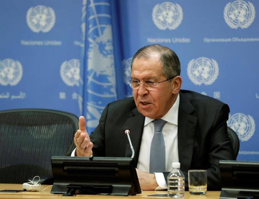 El ministro de Exteriores ruso, Sergei Lavrov, atiende una rueda de prensa en la sede de Naciones Unidas en Nueva York, EEUU, hoy, 19 de enero de 2018. EFE