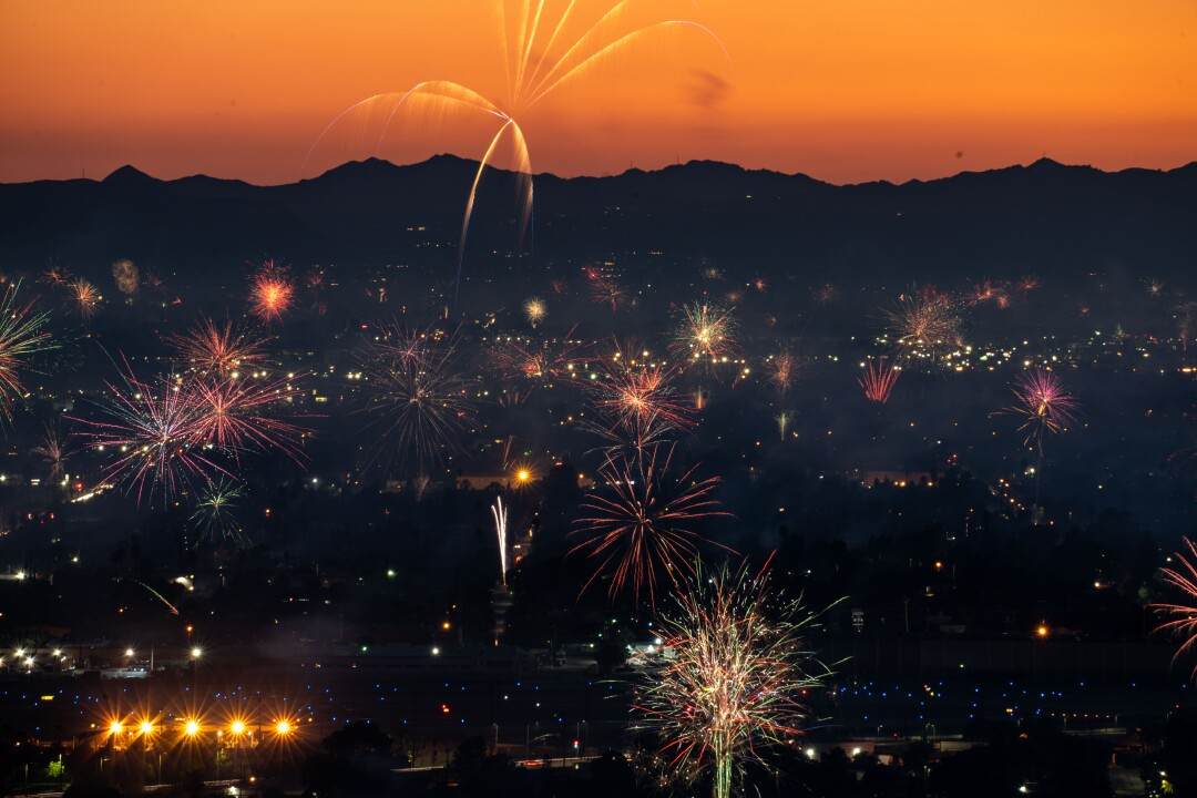 Fireworks over North Hollywood on Saturday, July 4.