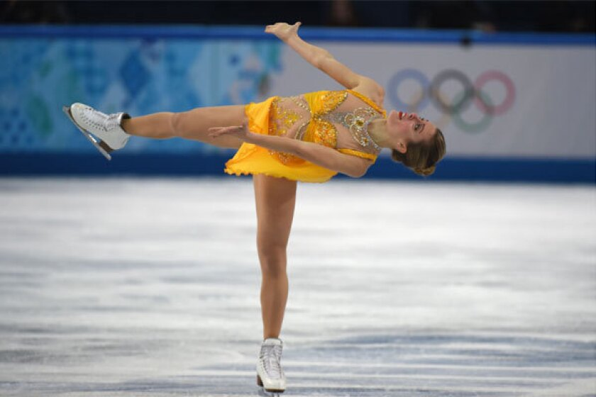 Ashley Wagner performs in the women's figure skating free program Thursday at the Iceberg Skating Palace.