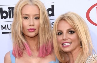 Britney Spears and Iggy Azalea work the Billboard Music Awards 2015