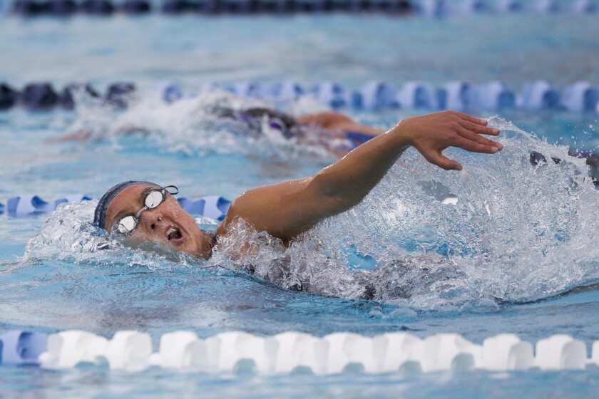 San Marcos' Lindsay Ladman swims the 500 yard freestyle.