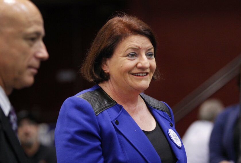 Toni Atkins, running for 39th Senate District, arrives at Golden Hall.