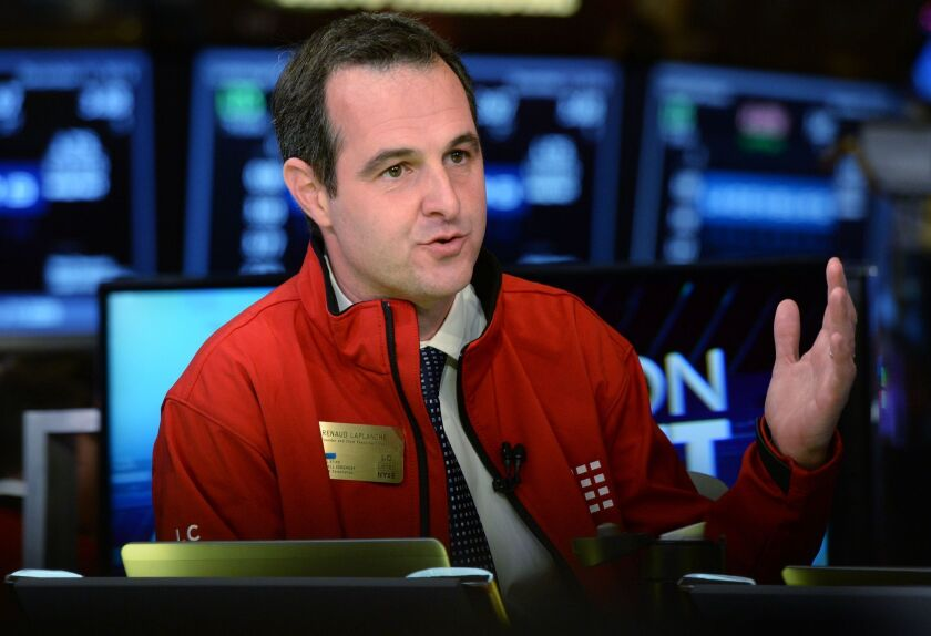 Former Lending Club CEO Renaud Laplanche is interviewed Dec. 11, 2014, after his company's initial public offering on the New York Stock Exchange.