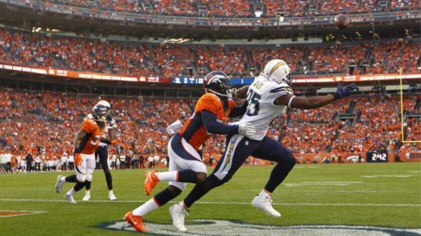 Antonio Gates can't come up with a catch in the end zone in the 4th quarter as  Broncos' Will Parks defends in Denver.