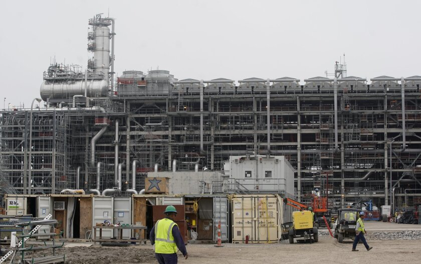 Construction at a production unit at Cameron LNG is shown Wednesday, Feb. 6, 2019, in Hackberry, LA