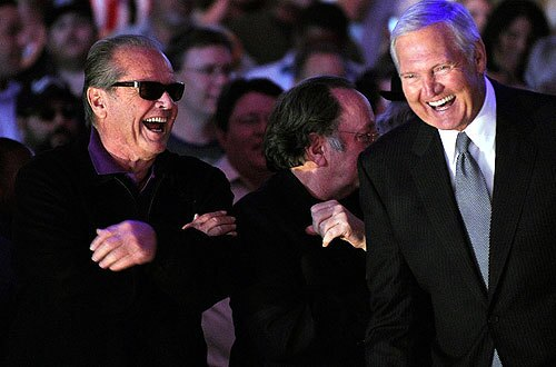 Jack Nicholson and Lakers legend Jerry West share a joke during the championship-rings ceremony before the Lakers-Clippers season opener. Follow the purple and gold around the clock at our Lakers blog.