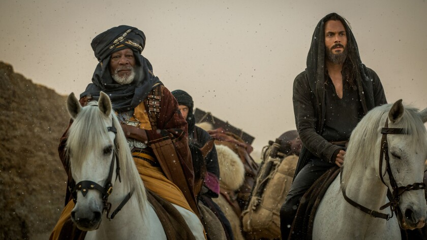 "Morgan Freeman, left, and Jack Huston in ""Ben-Hur."""