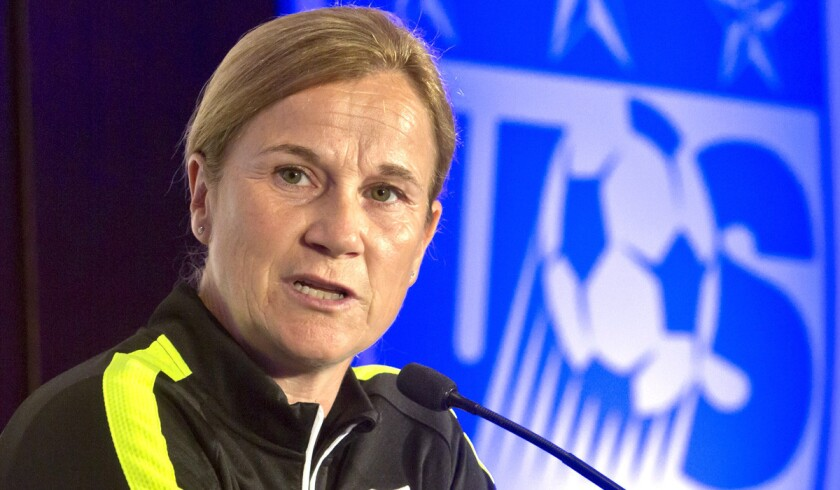 U.S. women's soccer head coach Jill Ellis speaks during the U.S. Women's National Team World Cup media day on May 27 in New York.