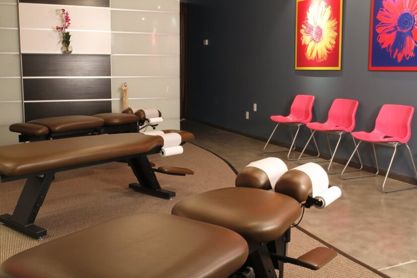 The Joint, a chain of chiropractic clinics, has opened its first San Diego location. Shown is the standard treatment area design for all the clinics.