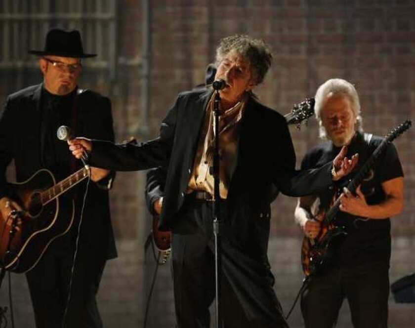 Bob Dylan performs at the 2011 Grammy Awards in Los Angeles.