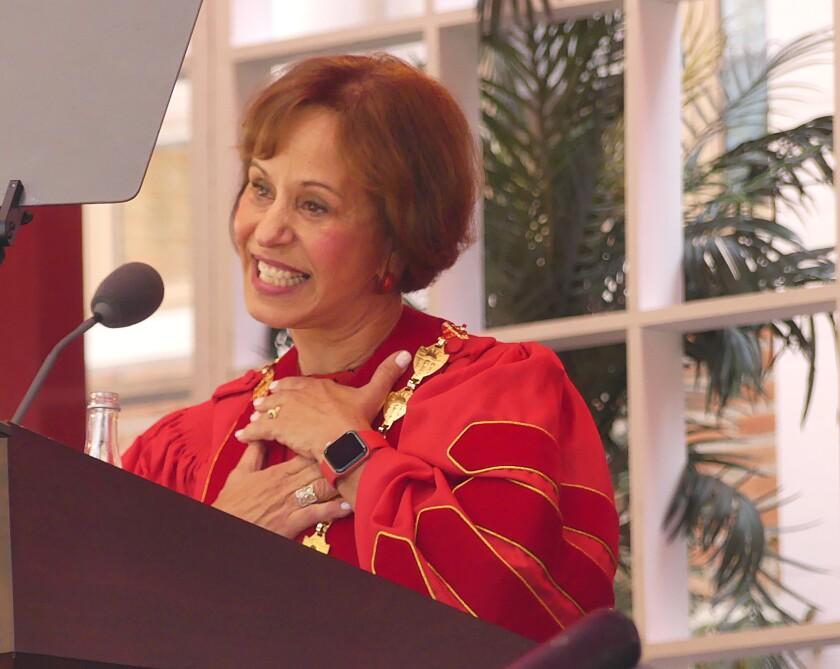 Carol Folt speaks at her inauguration as USC president