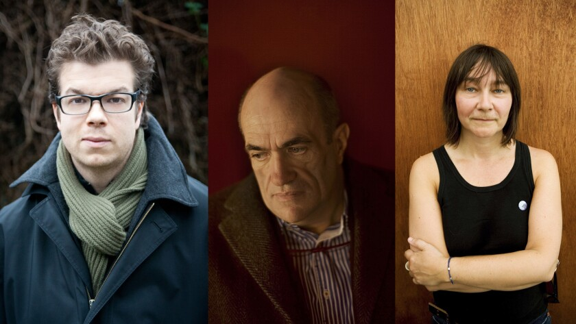 Three of the authors shortlisted for the 2015 Folio Prize: Ben Lerner, Colm Toibin and Ali Smith.