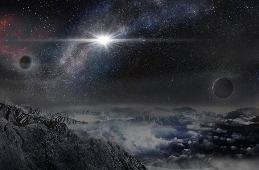 An artist's impression shows superluminous supernova ASASSN-15lh as it would appear from an exoplanet located about 10,000 light-years away in the host galaxy of the supernova.