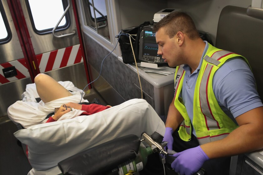 Overdose patient in an ambulance
