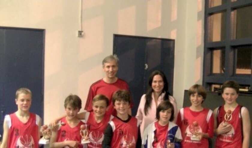 GojiGuys Team (left to right): Camden Morris, Joshua Edery- Brown, Olivar Brandrup, Gui Saldivar, Harrison Borts, R.J. Faltinsky, Charlie Mossy.  Back Row: Coaches Ray and Tricia Faltinsky.