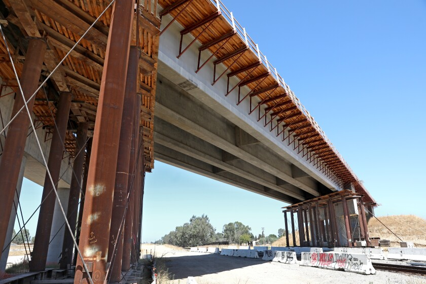 A bullet train bridge for the high-speed rail project, under construction on Aug. 5, 2020 in Madera, CA.
