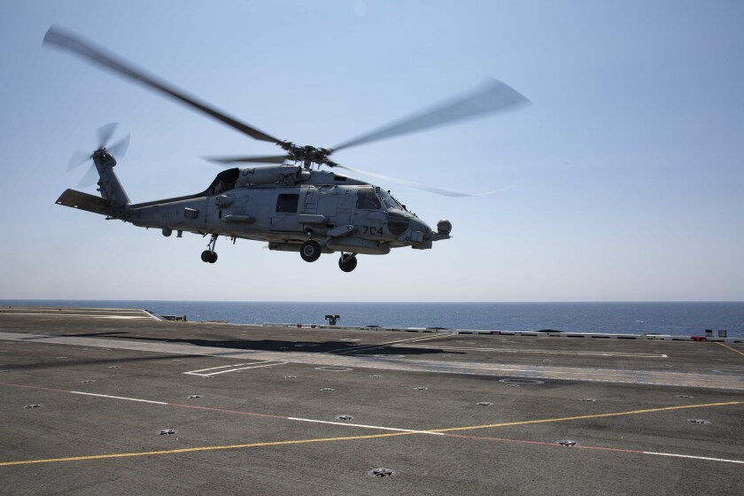 An MH-60R Sea Hawk helicopter