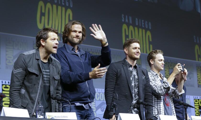 """Supernatural"" cast members Misha Collins, Jared Padalecki, Jensen Ackles and Alex Calvert greet fans during Comic-Con 2018."