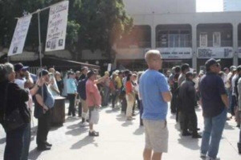 A crowd gathers downtown, many in support of the recall, to hear Michael Pallamary.