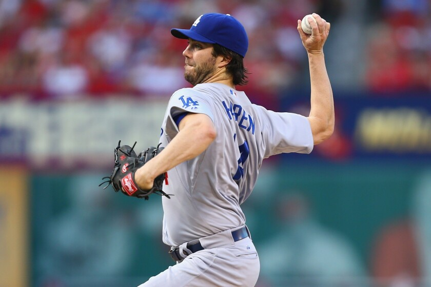 Dan Haren (8-7) lasted just 4 2/3 innings for the Dodgers against the Cardinals and gave up three runs on eight hits. Haren has lost his last three starts.