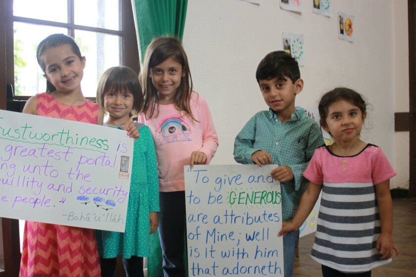 Nura Zabihi, Mae and Sofia Sisitki, and Aria and Soraya Yamini learned about truthfulness and generosity in Baha'i Virtues and spiritual education class.