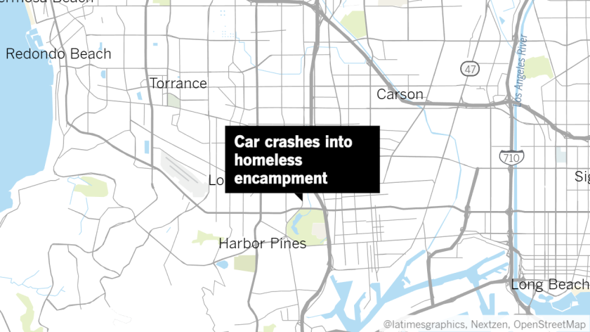 Stolen car crashes into homeless camp; fleeing occupant is stabbed, police say